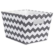 DII Fabric Trapezoid Storage Container for Nurseries, Offices, Closets, Home Décor, Cube Organizer & Everyday Use,(Basket - 12x10x8 ) Chevron Gray