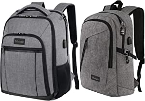 BUNDLE - Waterproof Laptop Backpack for Men, a Large & a Lightweight School Bookbag both with Luggage Strap and USB Charging Port, Grey