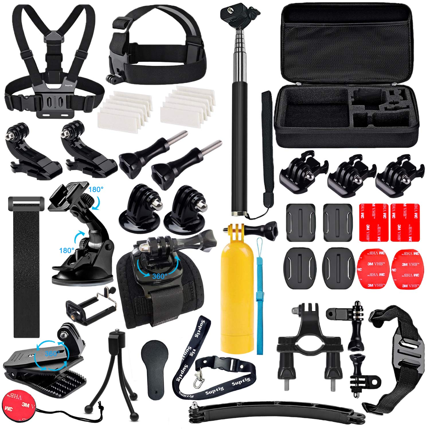 Suptig Accessories Kit Compatible for Gopro Hero 7/6/5/4/3/3+/2/1/Session and Sj Camera AKASO Dragon Campark Yi Xiaomi Action Camera Accessories Kit