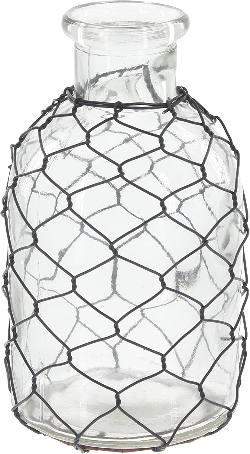 "Park Hill Home Decor Farmhouse Glass Bottle with Chicken Wire Wrap (7"" x 3.75"")"