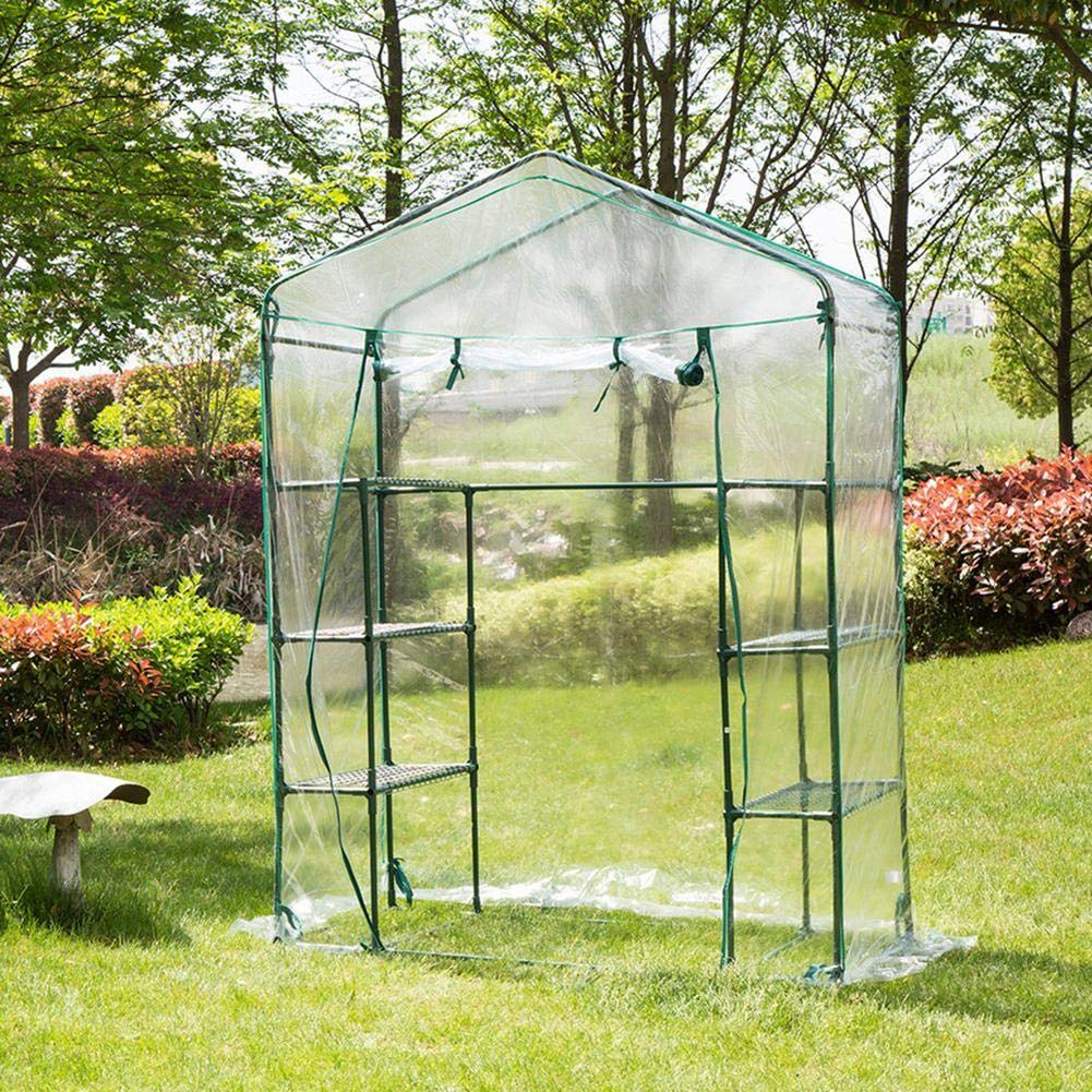 14373195 cm bozitian PVC Plant Film Greenhouse Waterproof UV Protection Heat Retention Portable Clear Film With Rollable Door And Zips Without Iron Frame Balcony Greenhouse With 4 Shelves