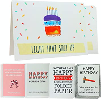 Amazon Com Funny Birthday Card Humorous Sarcastic Rude Happy Bday Card Pack Of 24 Cards Envelopes Included 8 Unique Designs Blank Inside 5x7 Boxed Assortment For Him Her Sister Brother Mom