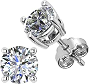 JFL Sterling Silver Stud Earrings – Sparkling Round Cubic Zirconia Earrings – Simulated Diamond for Women & Men – Hypoallerg