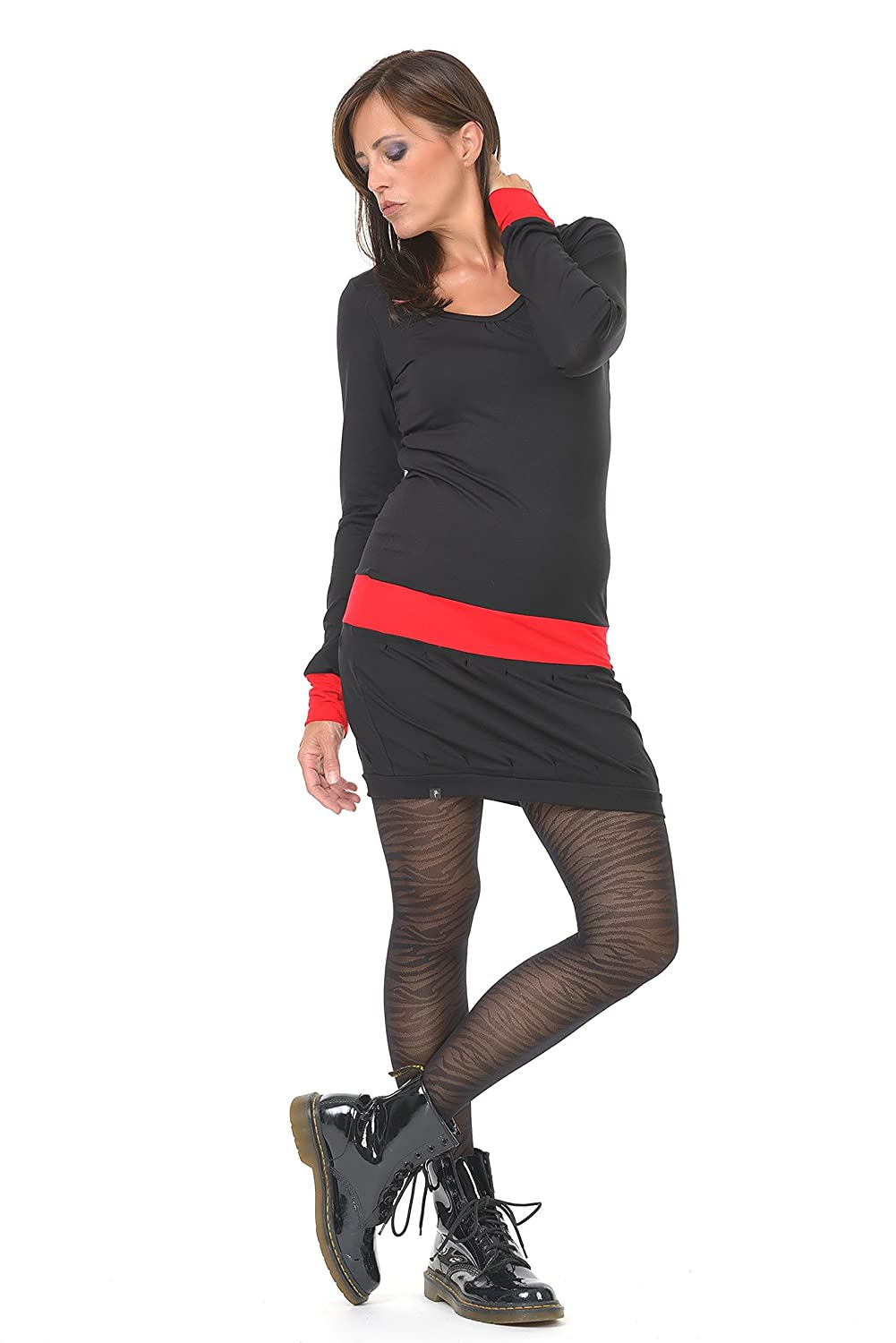 Long Sleeve Woman Dress / Mini Dresses designed by 3Elfen - Casual Bodycon Summer Outfit in Plus Size Fashion Girls / black red XS