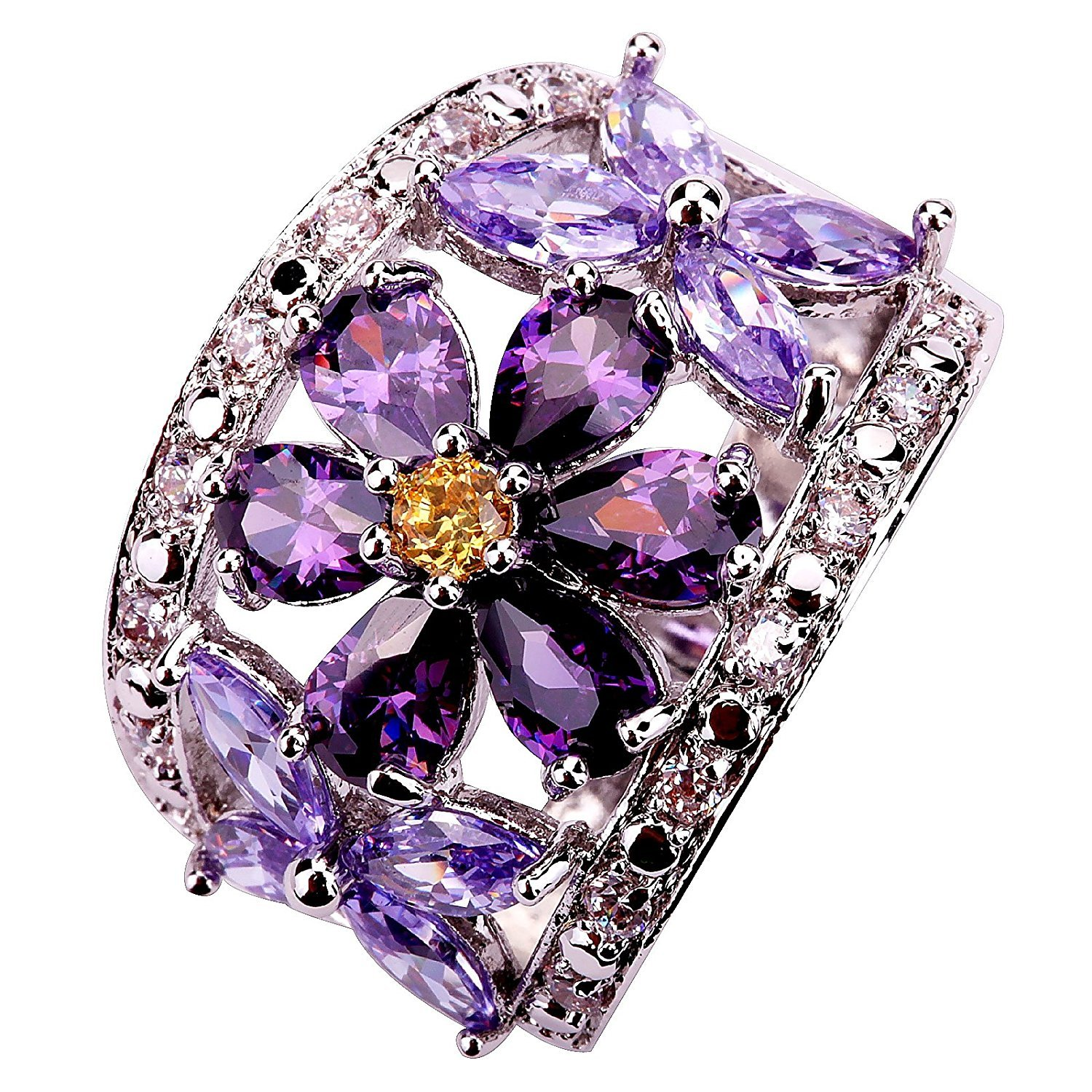 DVANIS Flower 24mm Pear Cut Purple Created Amethyst Silver Plated Size Q Ring