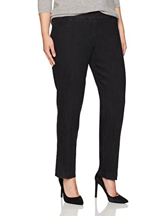 e58ad5ed8c5 SLIM-SATION Women s Plus-Size Wide Band Pull-on Straight Leg Pant with