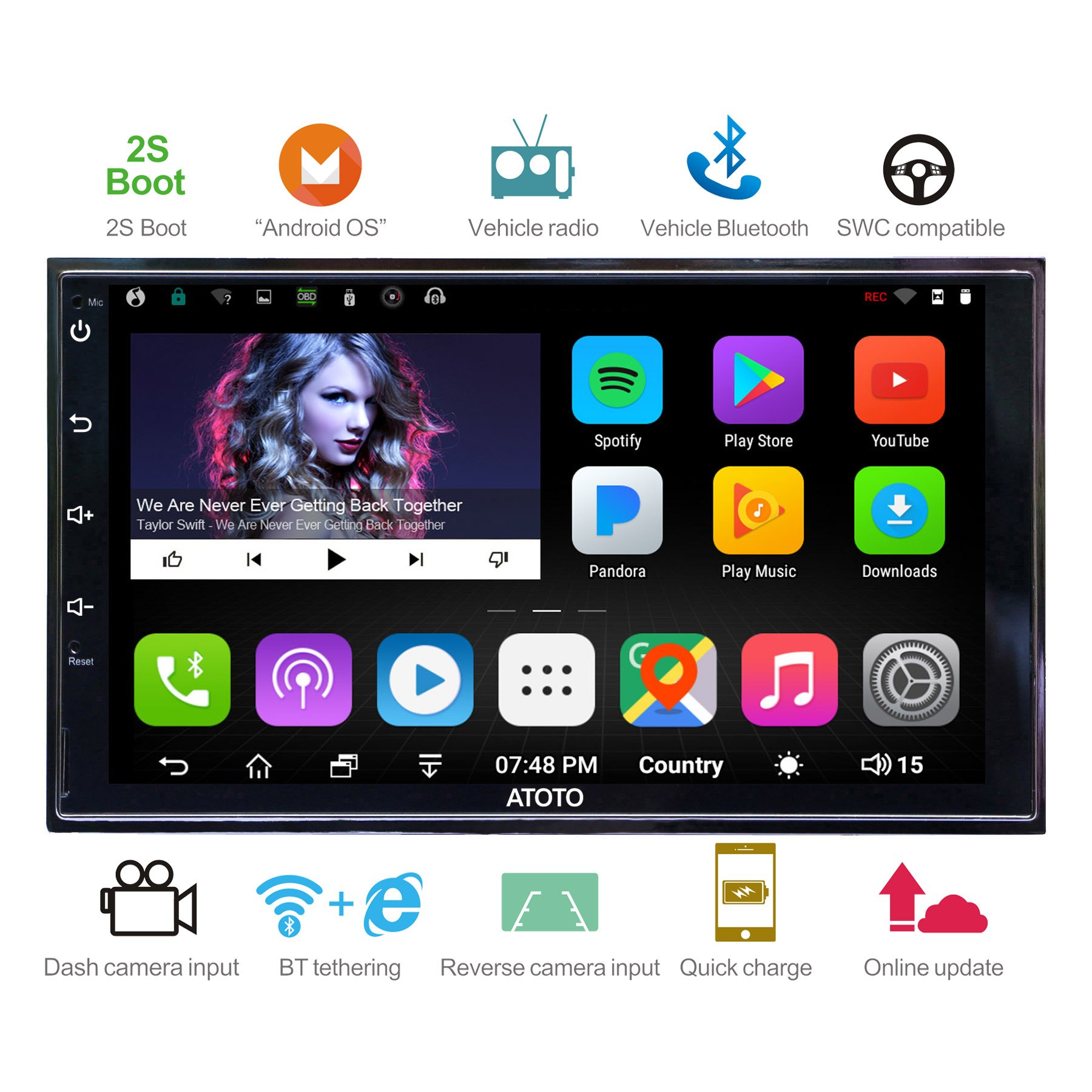 [NEW] ATOTO A6 2DIN Android Car Navigation Stereo with Dual Bluetooth & 2A Charge -Premiun A62721P 2G/32G Car Entertainment Multimedia Radio,WiFi/BT Tethering internet,support 256G SD &more by ATOTO