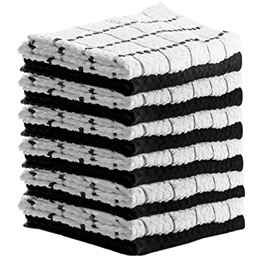 HomeLabels Kitchen Towels (12 Pack, 15 x 25 Inch) Cotton - Machine Washable - Extra Soft Set of 12 Black and White Dobby Weave Dish Towels, Tea Towels, Bar Towels