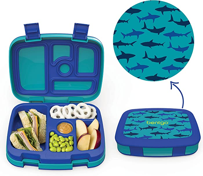 Bentgo Kids Prints (Sharks) - Leak-Proof, 5-Compartment Bento-Style Kids Lunch Box - Ideal Portion Sizes for Ages 3 to 7 - BPA-Free and Food-Safe Materials