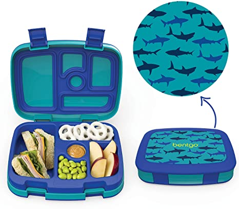 A Space Theme Print Lunch Tote Opens to a Tray.
