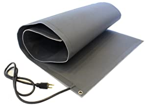RHS Snow Melting Mat, Heated Outdoor Walkway, Melts 2 inches o of Snow per Hour, Color Black, Anti-Slip Traction, Sandpaper Design, Prevents Ice Accumulation, Size 2-feet x 5-feet