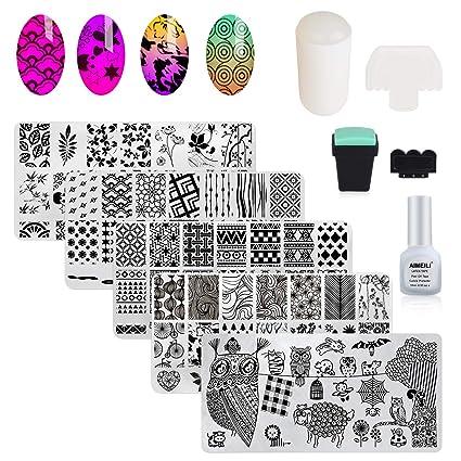 Aimeili Estampacion Uñas De Acero Inoxidable 5pcs Placas Para Uñas 2 Sello Estampador De Uñas 2 Raspador 1 Latex Liquido Nail Art Stamping