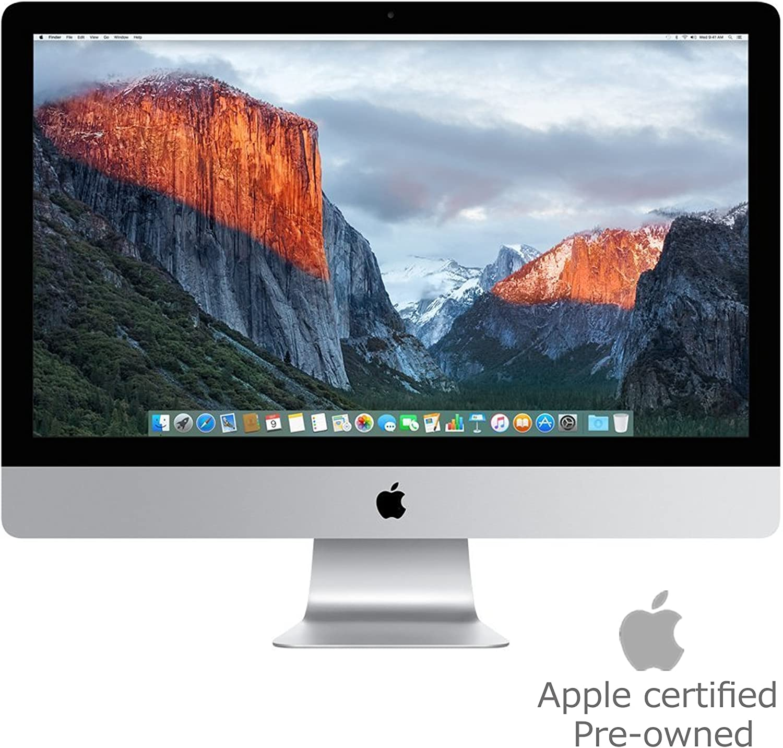 Apple iMac MK482LL/A 27-Inch Retina 5K Display Desktop (Intel Quad-Core i5 3.3GHz, 8GB RAM, 2TB Fusion Drive, Mac OS X), Silver (Renewed)