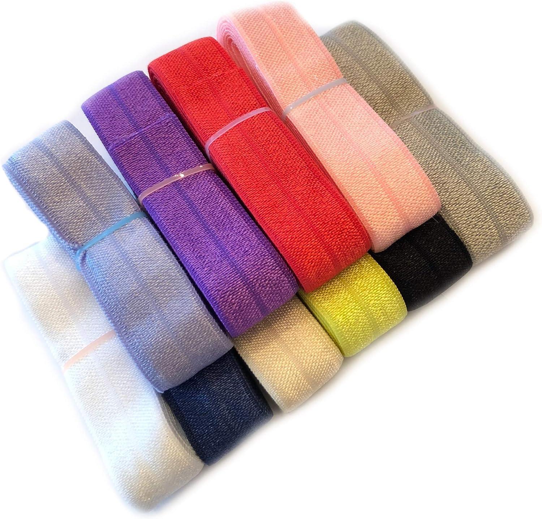 Elastic by the yard 5 yards 58 Fold Over Elastic Headband Shiny Elastic Foe Elastic DIY FOE Grab Bag Fold Over Elastic