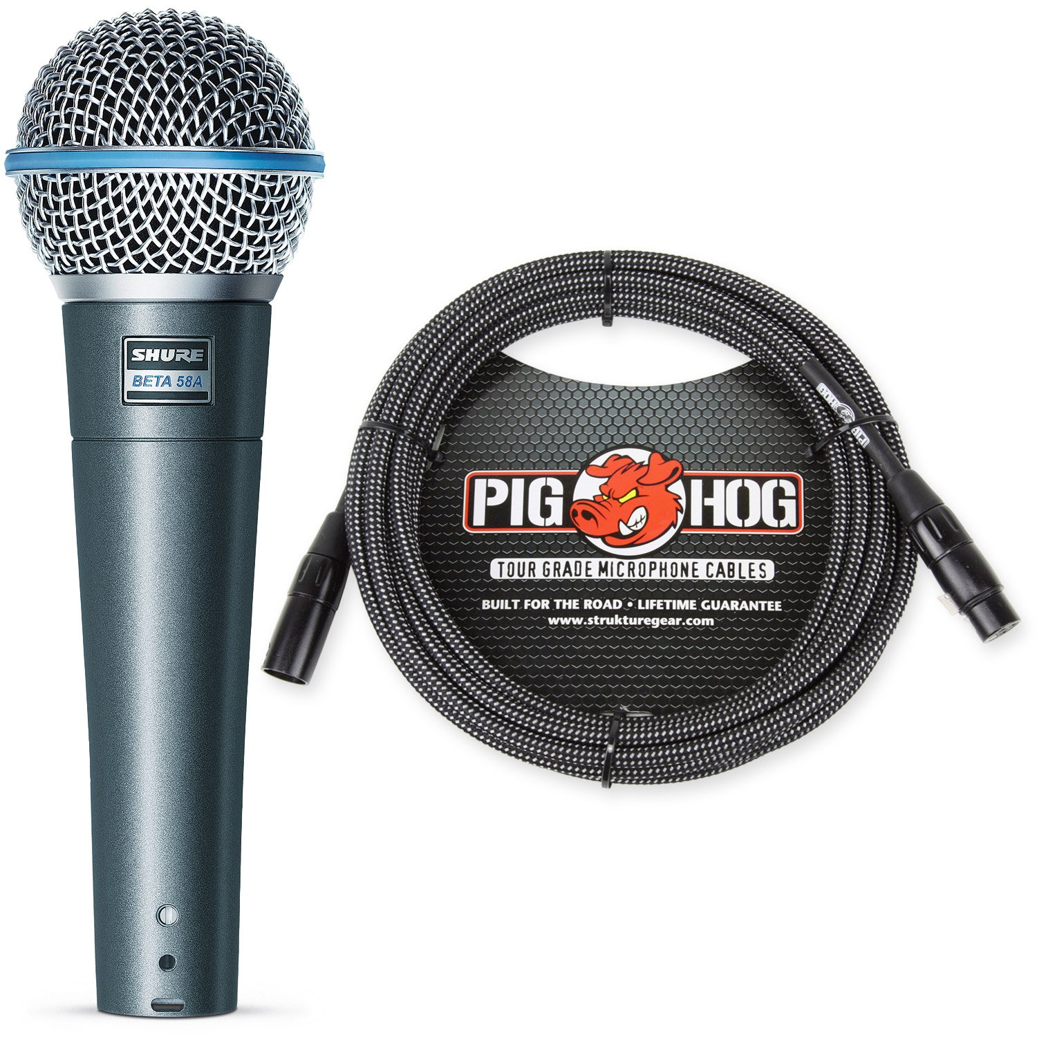 Shure Beta 58A Supercardioid Vocal Microphone & Pig Hog Black & White Woven Mic Cable, 20ft XLR - Bundle by Shure