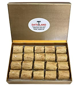 Fresh Original Baklava Rolls with Walnuts (Vegan) in Golden Gift Box 1 LB