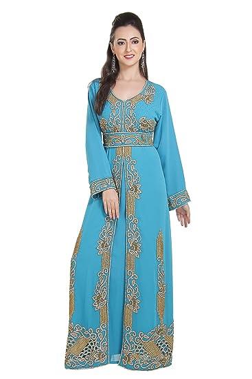 f4124ea433 Designer Wear Full Length Maghribi Caftan Ladies Maxi Dress 7208 (XS)