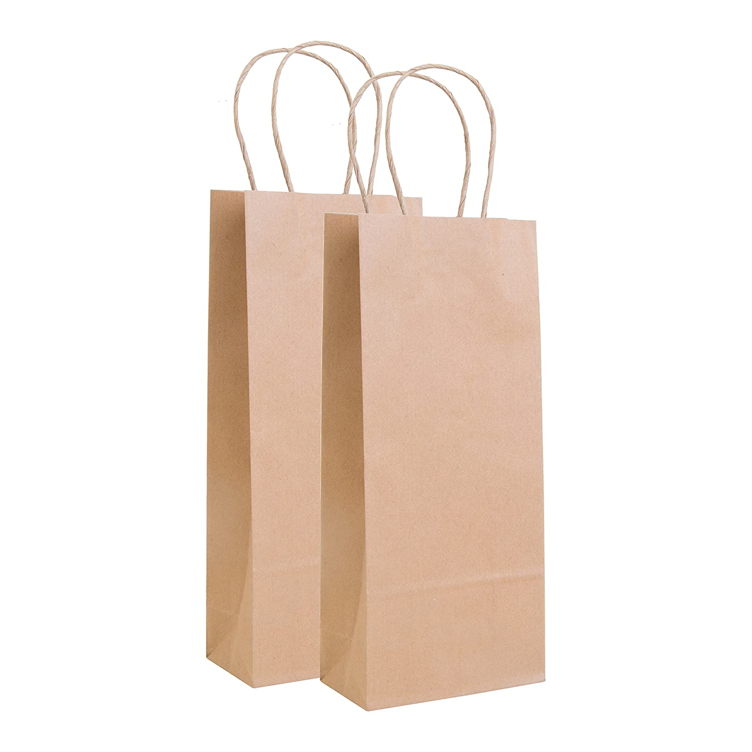Incredible Packaging - 5.5 x 3.25'' x 13 Wine Kraft Bag with Handles, for Gifts, Retail and Merchandise. Strong and Reusable - 80 Paper Thickness (20, White)