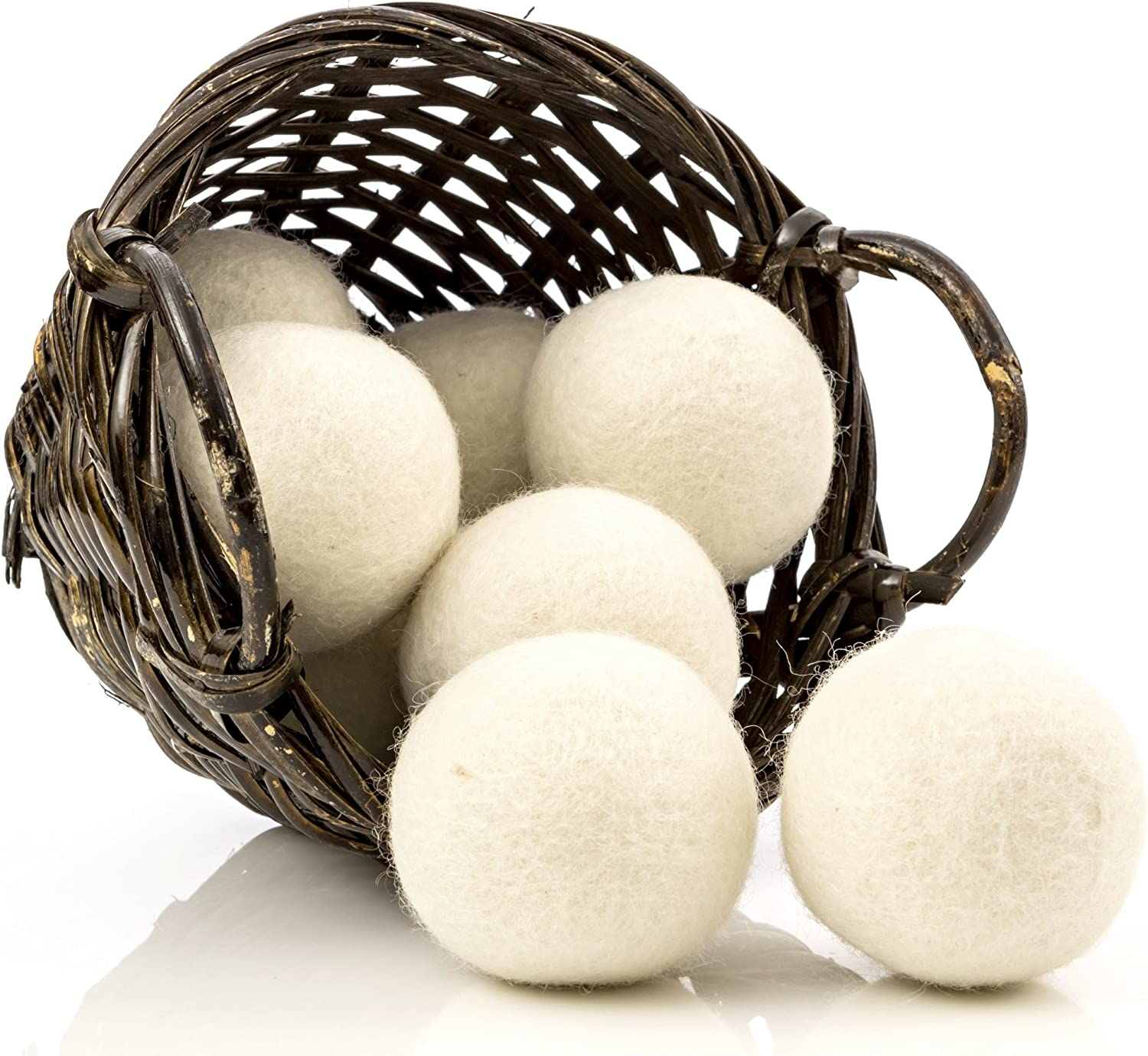 Organic Wool Dryer Balls, 8-Pack — Natural Ecofriendly Fabric Softener — Reusable Dryer Sheets for Infants — Soft and Gentle on Clothes & Skin
