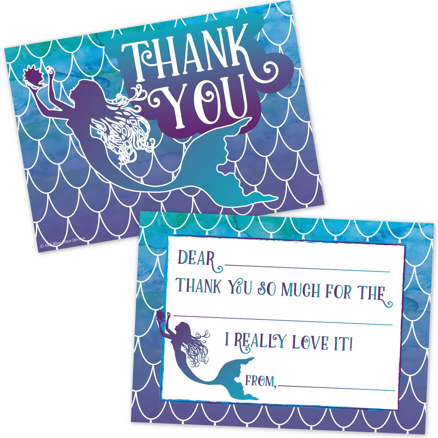 Mermaid Watercolor Kids Fill In Thank You Cards - Girls Birthday Pool Party Thanks (20 Count with Envelopes)