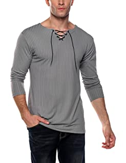 c895927977 Amazon.com  COOFANDY Mens Long Sleeve Lace up Cotton T Shirts Casual ...