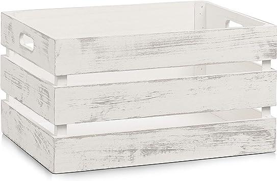 Zeller 15132 Caja de Almacenamiento, Madera, Blanco, 39x29x21 cm ...