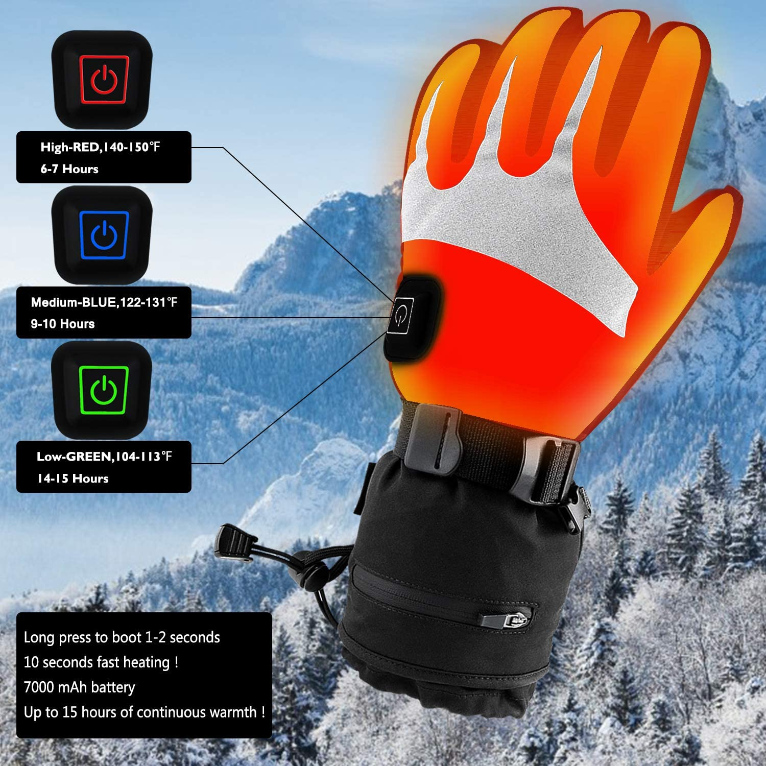 Heated Gloves for Men Women Electric Heating Motorcycle Gloves Rechargeable Battery Heated ski Gloves for Winter Outdoor Hunting.