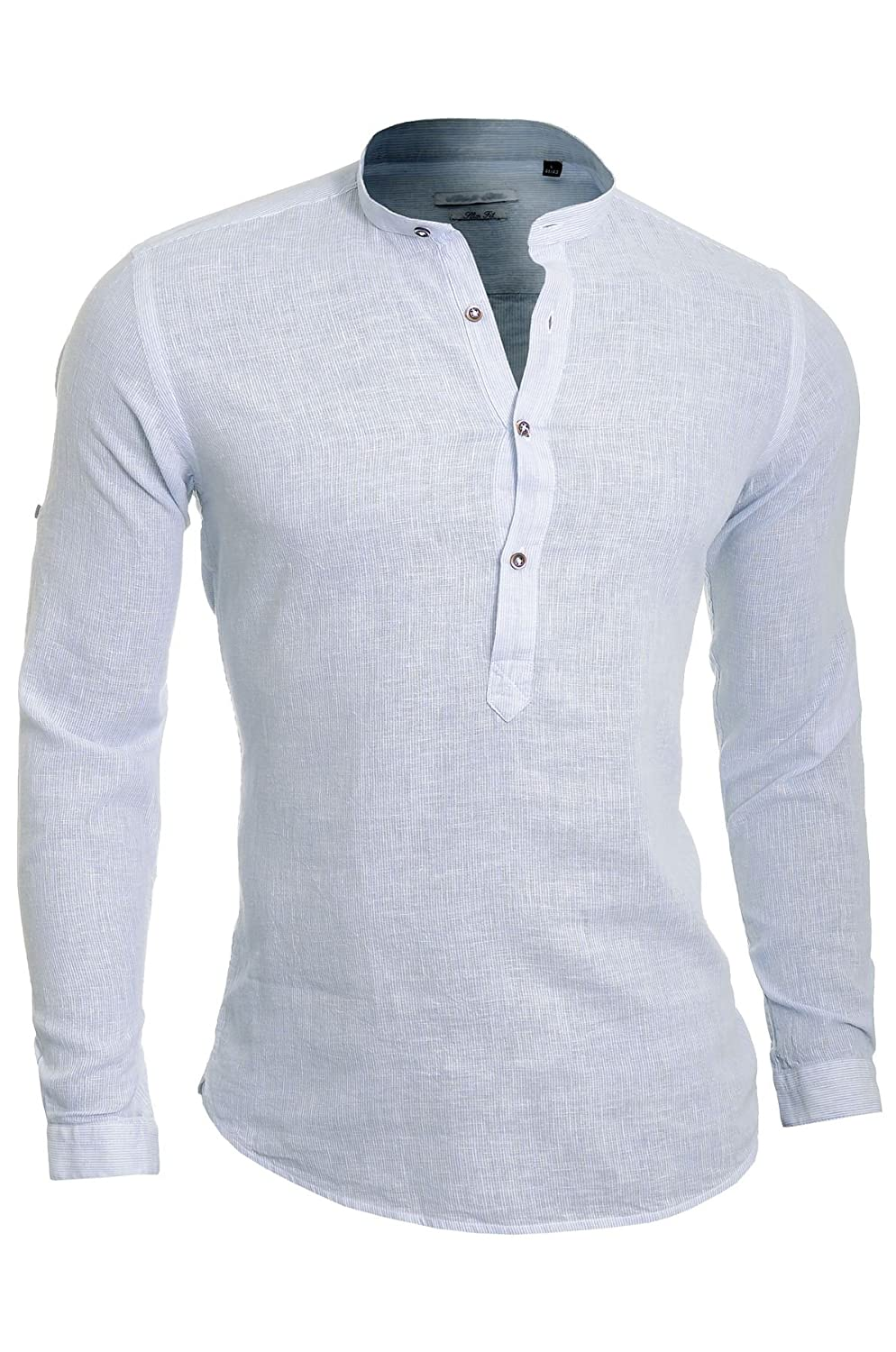 Stand Collar Shirts Designs : D r fashion men s casual henley shirt grandad stand up collar