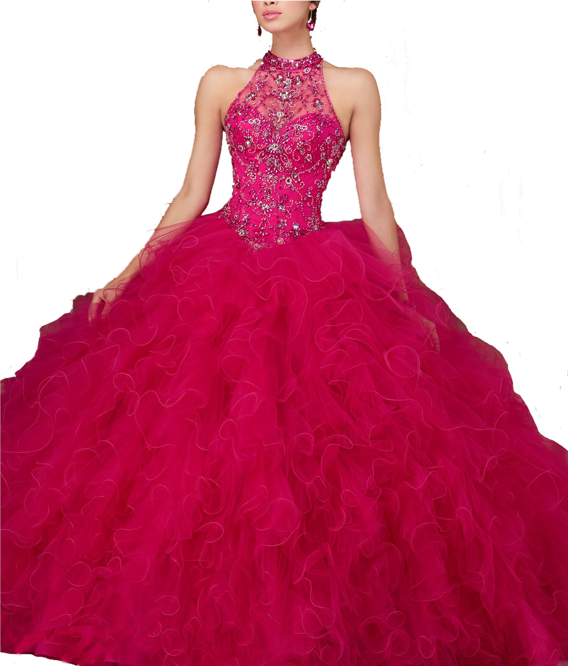 Ellenhouse Fuchsia Beaded Quinceanera Dress Halter Prom Ball Gowns With Tulle Jacket US10 by Ellenhouse
