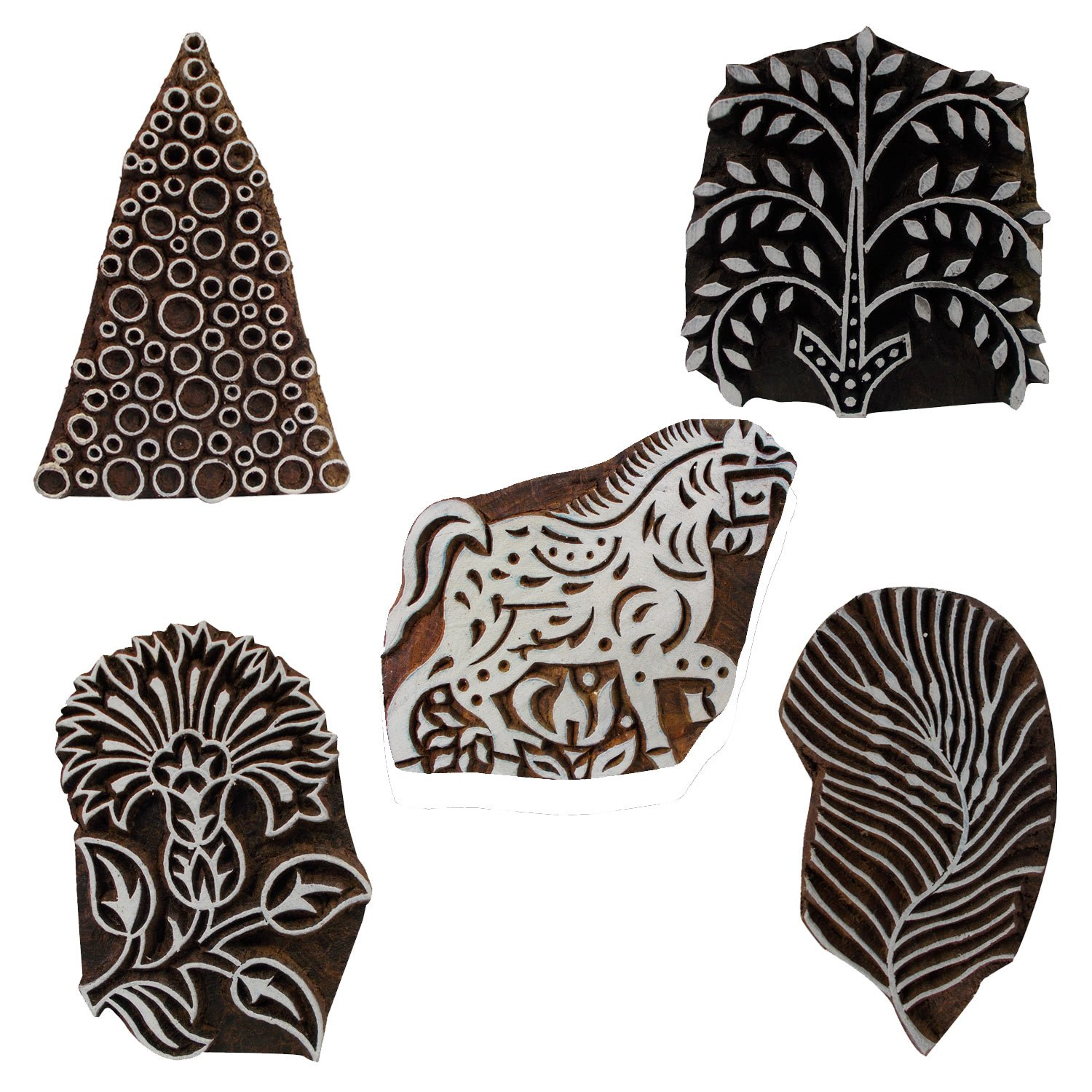 Lot of 5 Wooden Textile Handmade Floral Horse Christmas Tree Printing Textile Block Clay Potter Craft Scrapbook Stamps