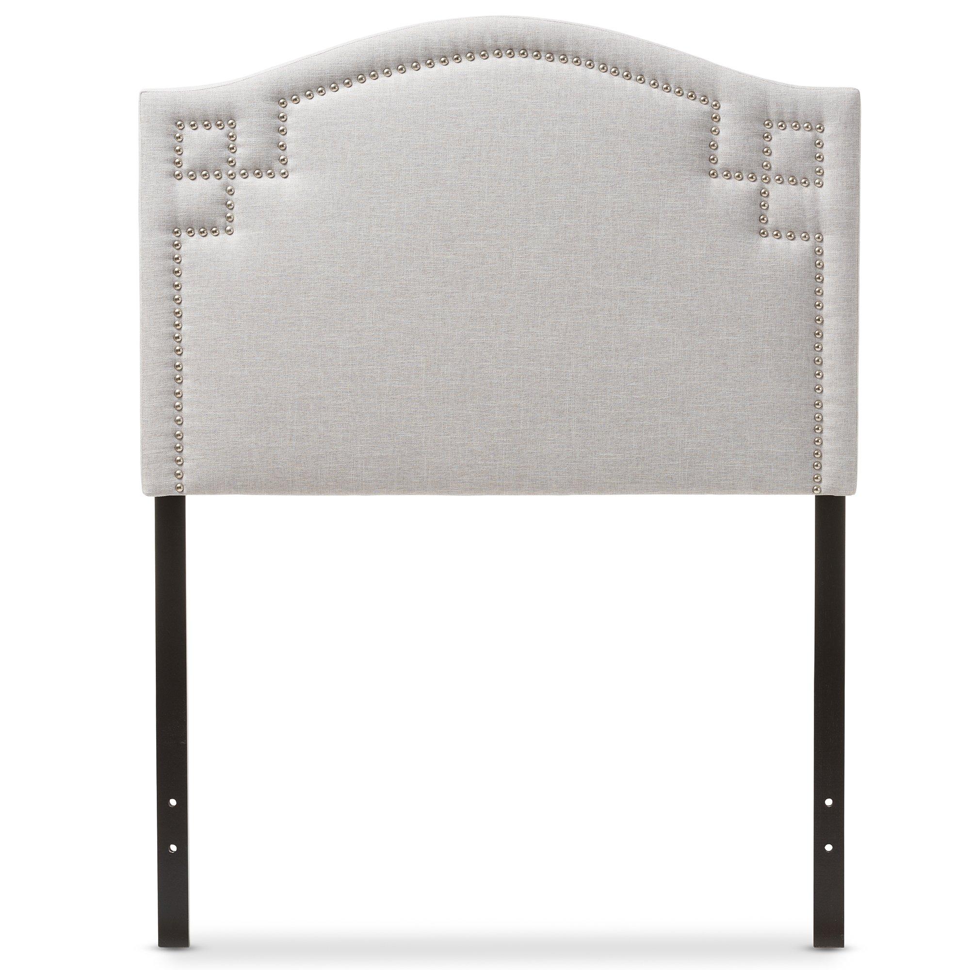 Baxton Studio Aure Modern and Contemporary Kids Bedroom Greyish Beige Fabric Upholstered Headboard, Twin