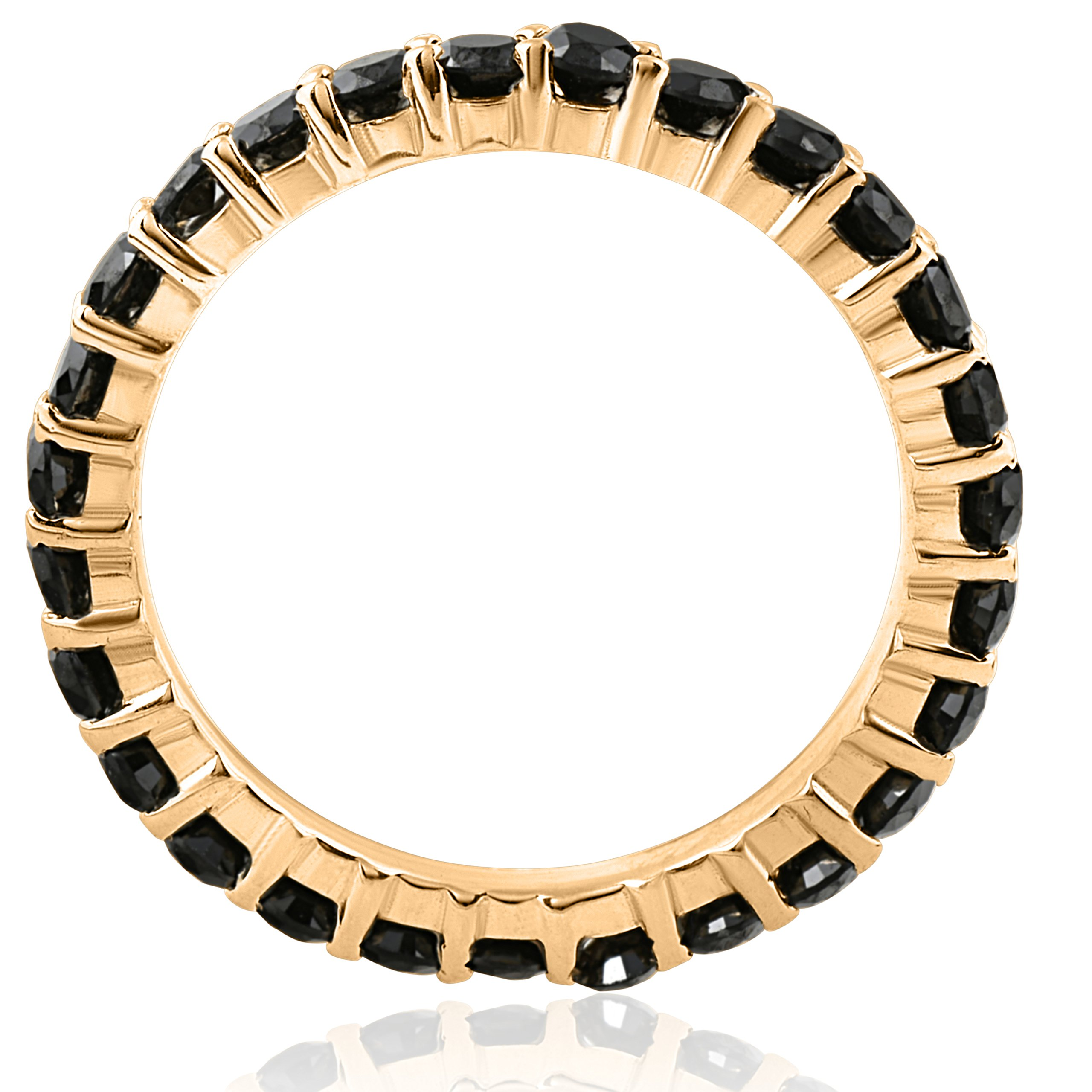 1 1/2ct Black Diamond Eternity Ring 14k Yellow Gold Womens Stackable Band - Size 7 by P3 POMPEII3 (Image #2)