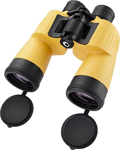 BARSKA AB12738 Floatmaster 7×50 Waterproof Floating Marine Binoculars for Boating, Hunting, Fishing, Sports, etc, Yellow