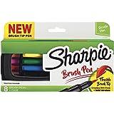 Sharpie Pen, Brush Tip, Assorted Colors, 8 Count + Soft Zip Case