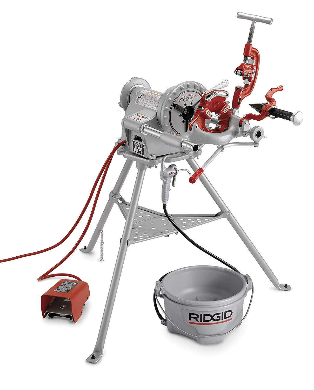 RIDGID 15682 Model 300 Power Drive Complete, 38 RPM Pipe Threading Machine  and 1/2-Inch to 3/4-Inch, 1-Inch to 2-Inch Universal Alloy Threading Die  Heads, ...