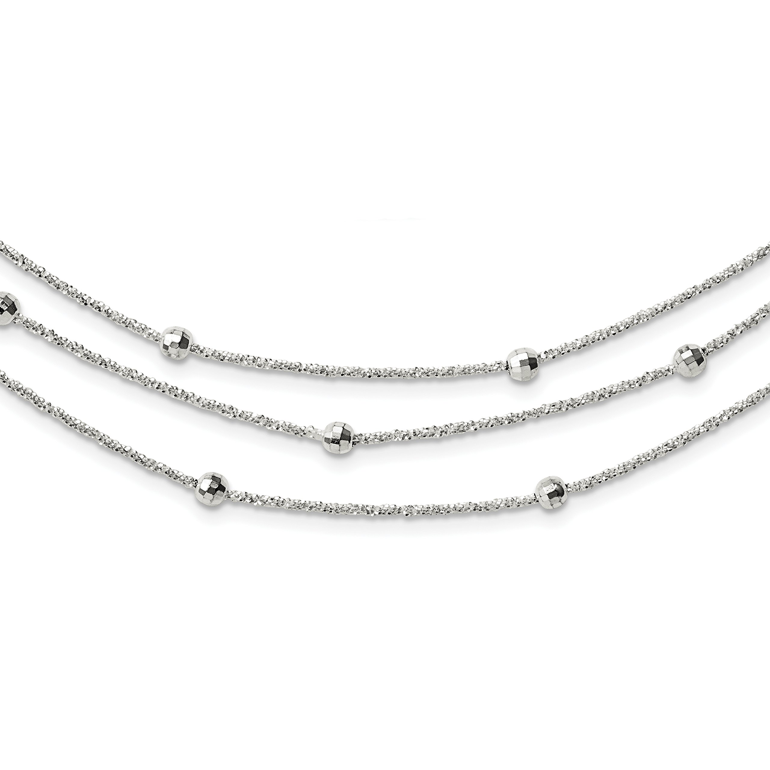 ICE CARATS 925 Sterling Silver 3 Strand Beaded 2in. Extension Chain Necklace Multi-str Bead Station Fine Jewelry Gift Set For Women Heart