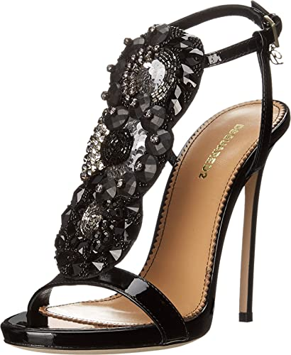 DSQUARED2 Women's T-Strap Heeled Sandal Nero 37 ...