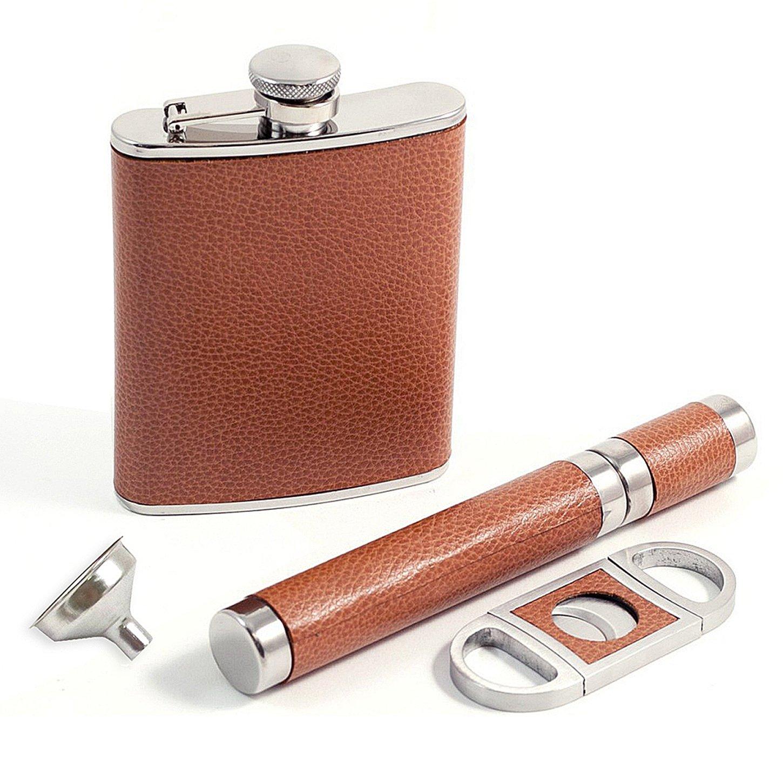 Cigarアクセサリー – レザーWrapped 4ピース葉巻Aficionadoセット:フラスコ、Funnel、葉巻ケースシガーカッター B00N04DMP8