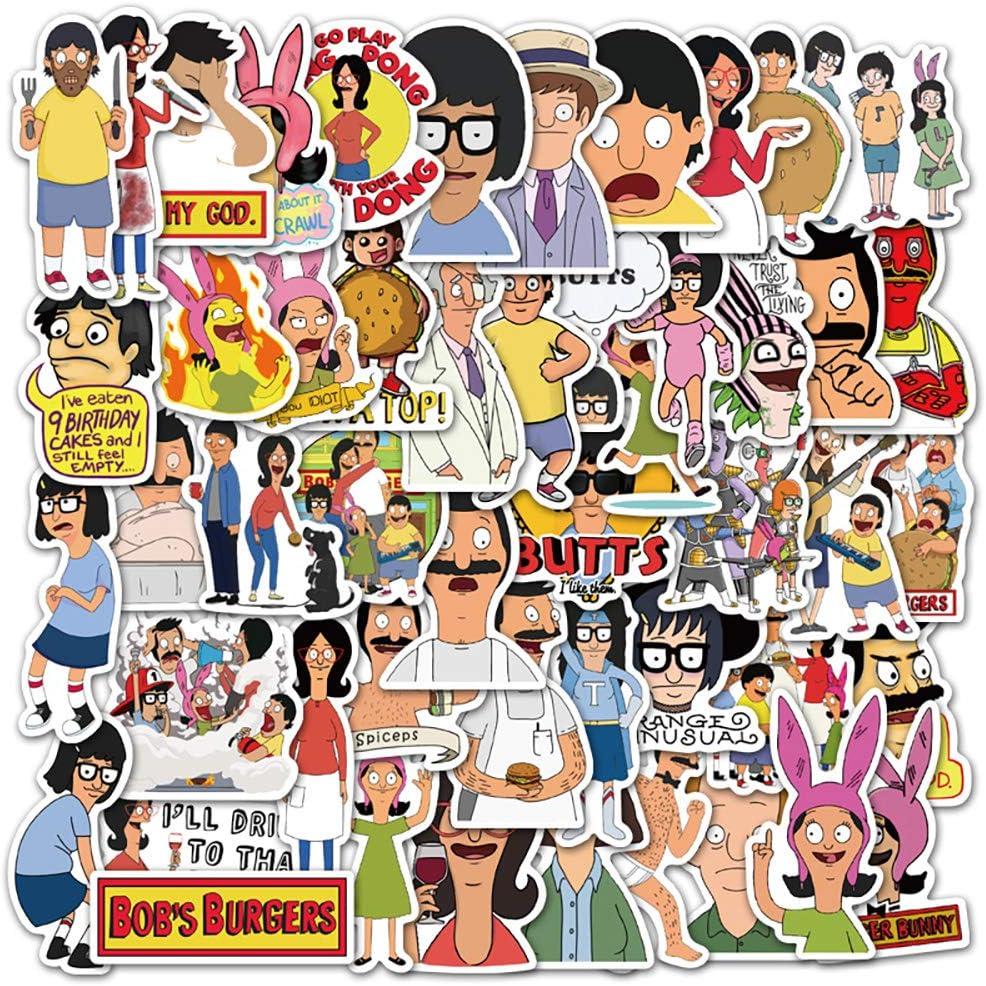 Potota Anime Stickers Bob's Burgers| 50 PCS | Vinyl Waterproof Stickers for Laptop,Skateboard,Water Bottles,Computer,Phone, Hard hat, Cool Stickers, (Bob's burgers-50PCS)