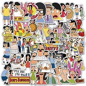 Acekar Bob's Burgers Stickers| 50 PCS | Vinyl Waterproof Stickers for Laptop,Bumper,Skateboard,Water Bottles,Computer,Phone,Terror Game Stickers(Bob's Burgers)