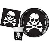 Kit Party Tavola Pirati Black Skull per 24 persone (88 pezzi: 24 piatti carta Ø23cm, 24 bicchieri plastica 200ml, 40 tovaglioli carta 33x33cm)