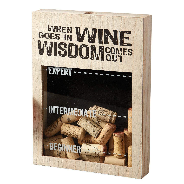 Design Imports When Wine Goes in Wisdom Comes Out Decorative Cork Box 8.5 x 12 x 2 DII