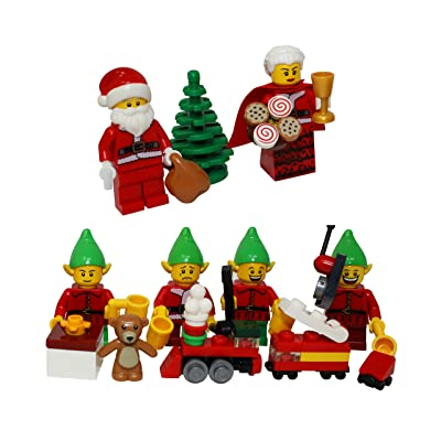 LEGO Christmas Santa Claus, Mrs Claus, 4 Elves, Tree, Elf Gift Presents - Custom Xmas Minifigure: Toys & Games