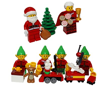 Amazon Com Lego Christmas Santa Claus Mrs Claus 4 Elves With