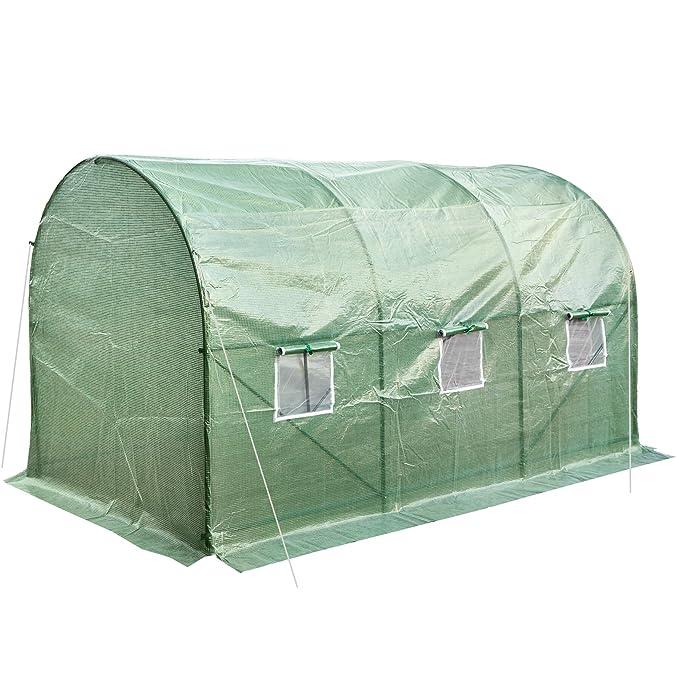 TecTake Invernadero de jardín vivero casero plantas cultivos carpa de plástico túnel   343x200x200cm   6 ventanas laterales con rejilla protectora: ...