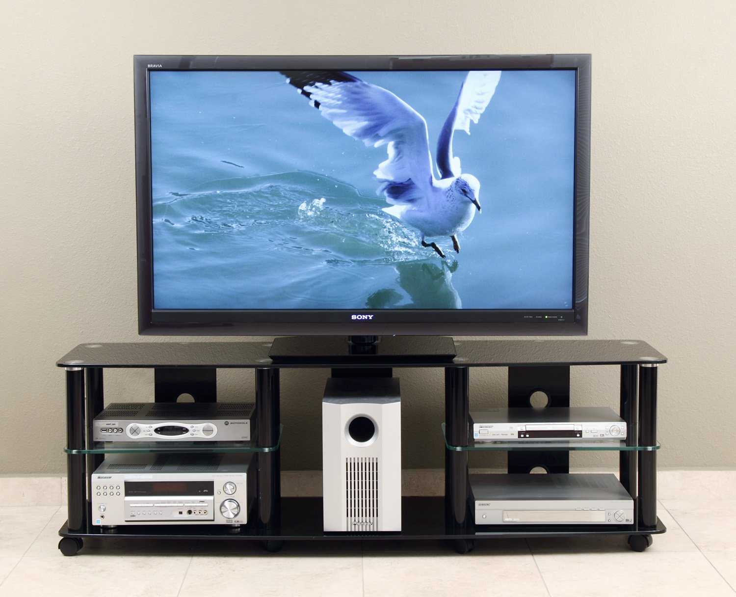 TransDeco 65 inch TV Stand with Casters for 40-70 inch LCD/LED Televison