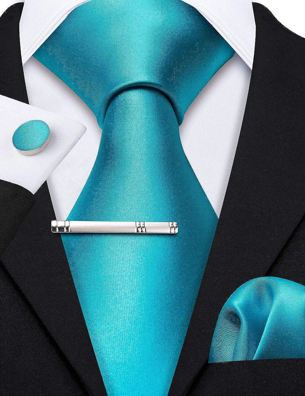 Barry.Wang Cravatte Uomo Seta Tinta Unita Fazzoletto e Gemelli per Festa di Matrimonio