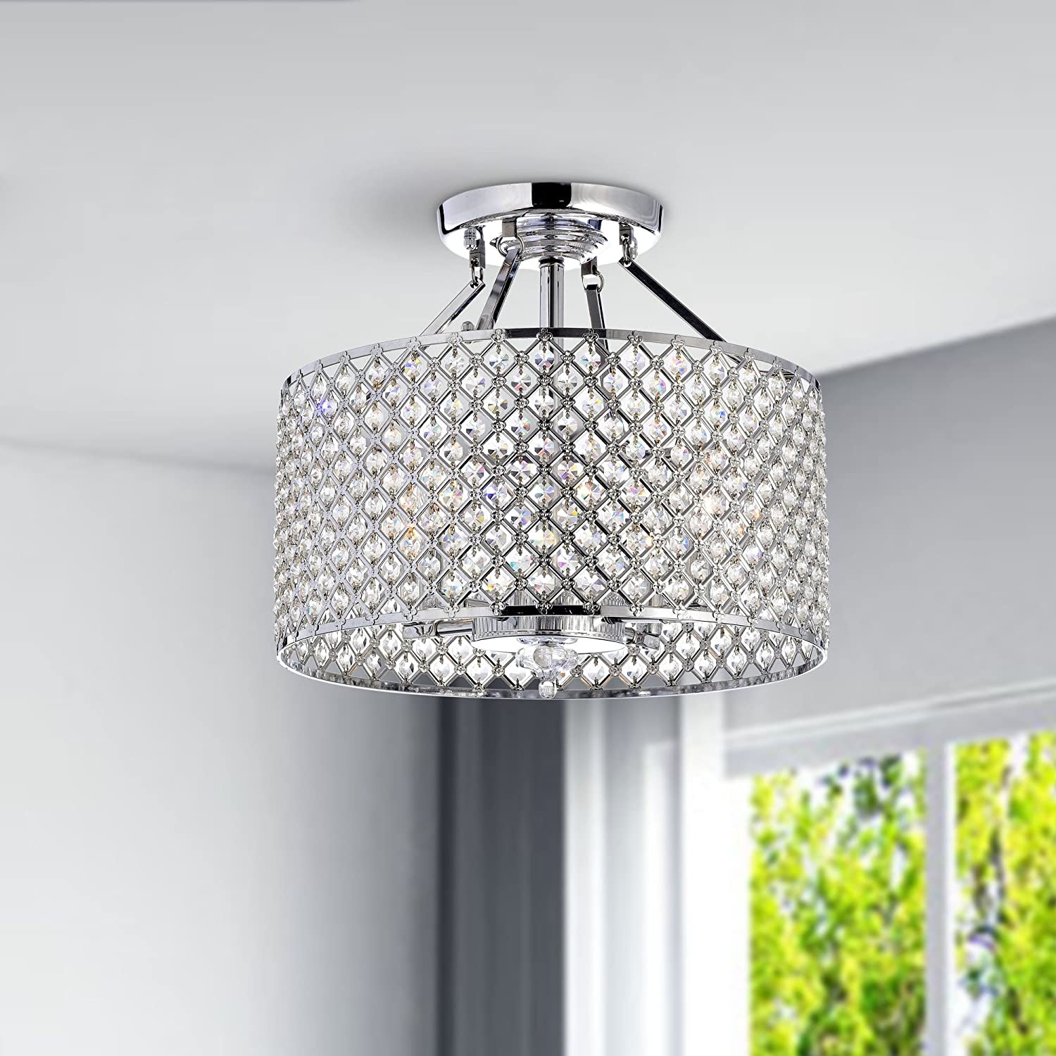 Chrome crystal 4 light round ceiling chandelier amazon arubaitofo Gallery