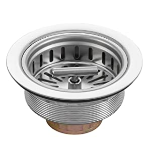 KONE Kitchen Sink Drain Assembly with Strainer Basket/Stopper, Replacement for Standard Drains(3-1/2 Inch), All Well Made Stainless Steel Durable and Rustproof