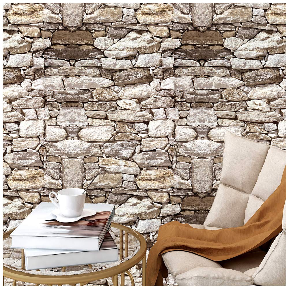 HaokHome 620632-3M Textured Stone Brick Wallpaper Peel and Stick Stone Wallpaper Faded Rusty//Tan//Black Self Adhesive Contact Paper 17.7 X 9.8 ft Wall Furniture Sticker